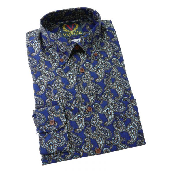 Viyella Slim Fit Cotton Shirt with Button Collar in Blue Paisley