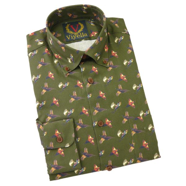 Viyella Slim Fit Cotton Shirt with Button Collar in Brunswick Green Pheasant