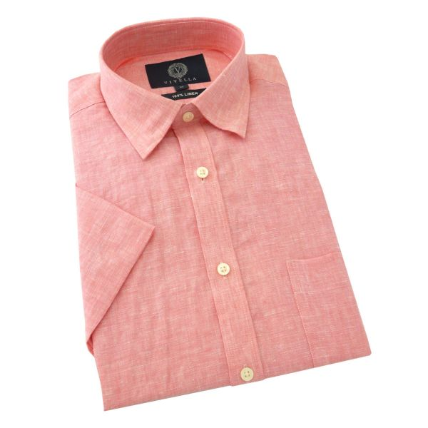 Viyella - Mens Linen Shirt - Short Sleeve - Raspberry