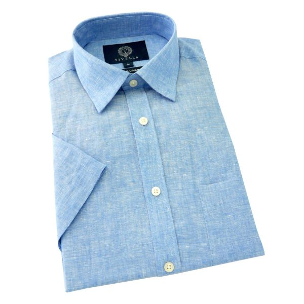 Viyella - Mens Linen Shirt - Short Sleeve - Sky Blue