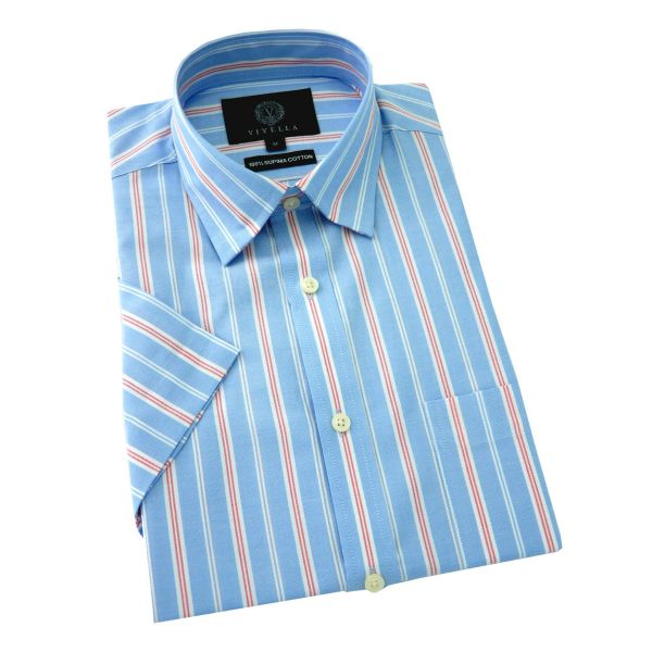 Viyella - Short Sleeve Supima Cotton Shirt in Light Blue with White and Red Stripe