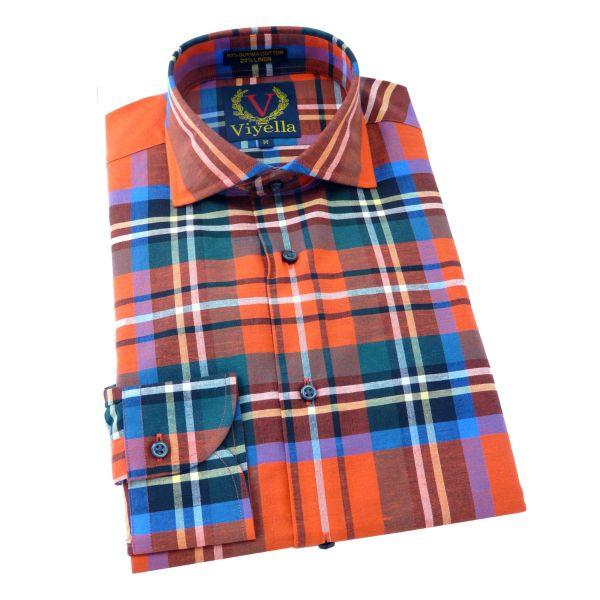 Viyella - Long Sleeve Linen Cotton Blend Shirt in Royal Stewart