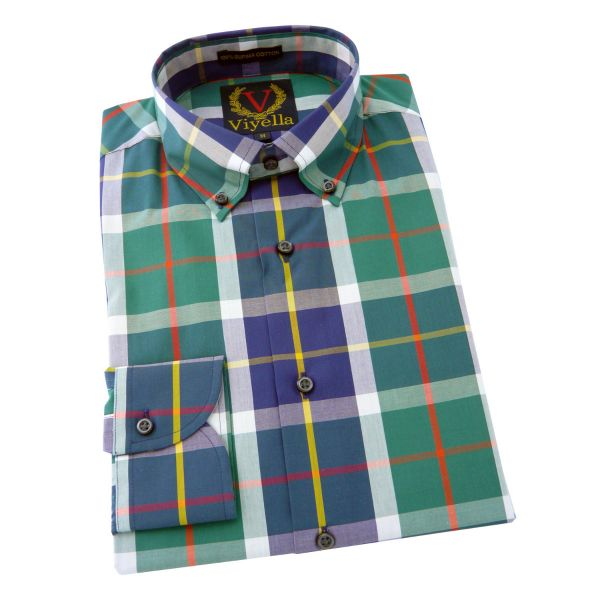Viyella - Long Sleeve Supima Cotton Shirt with Button Down Collar in Green Club Check