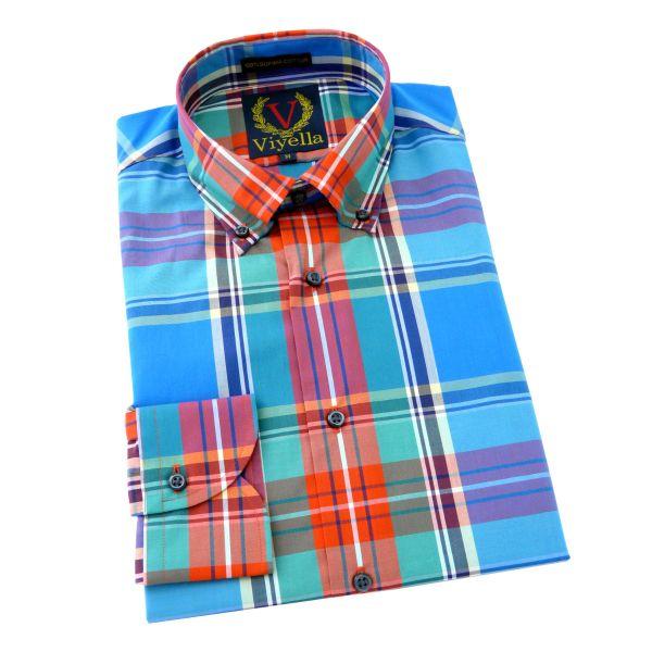 Viyella - Mens Supima Cotton Shirt with Button Down Collar in Macbeth Blue Tartan