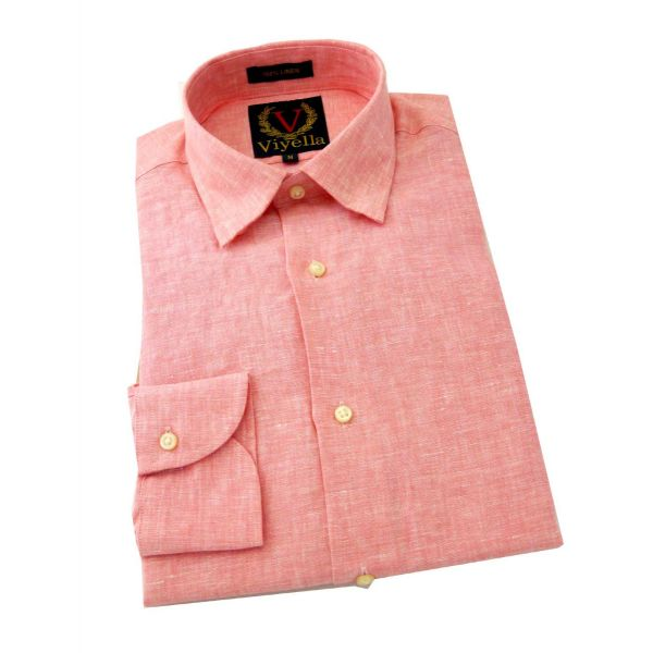 Viyella - Mens Linen Shirt in Raspberry - Long Sleeve
