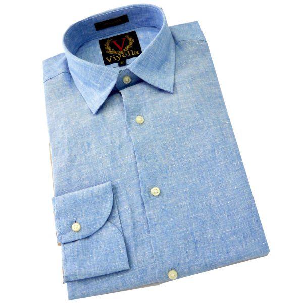 Viyella - Mens Linen Shirt in Sky Blue - Long Sleeve