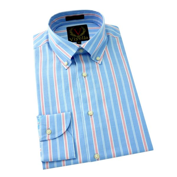 Viyella - Long Sleeve Supima Cotton Shirt in Light Blue with White and Red Stripe