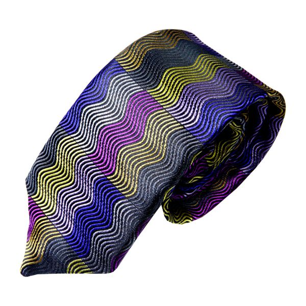 Limited Edition Silk Tie with a Multi Colour Wave Design from Van Buck