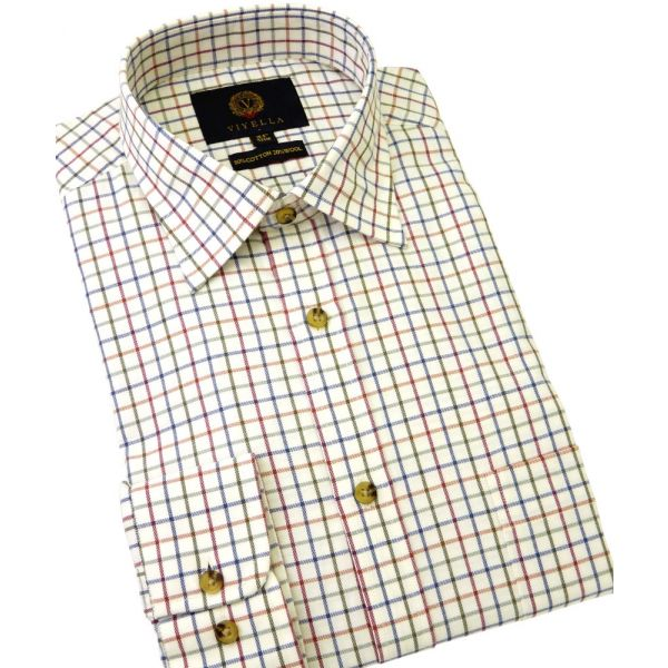 Plum Tattersall Check Cotton and Wool Shirt