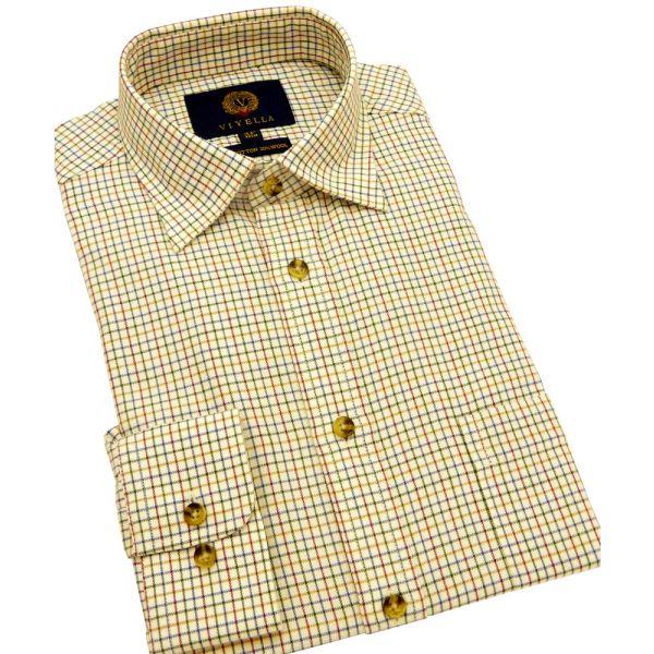 Plum Mini Tatersall Cotton and Wool Viyella Shirt