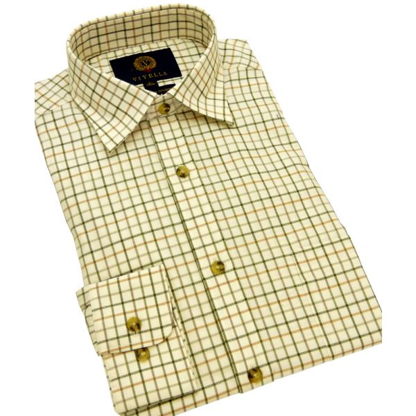 Lovat Medium Tattersall Cotton and Wool Shirt from Viyella