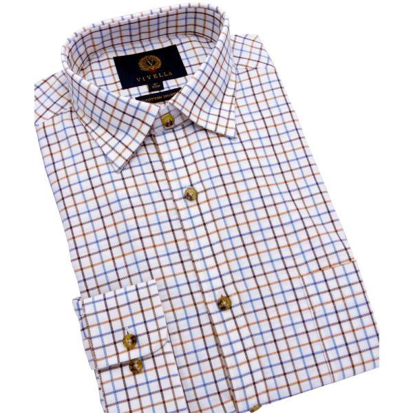 Russett Classic Tattersall Cotton and Wool Shirt from Viyella
