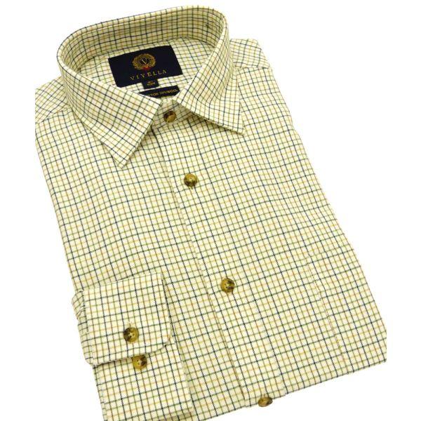 Olive Mini Tattersall Cotton and Wool Shirt from Viyella