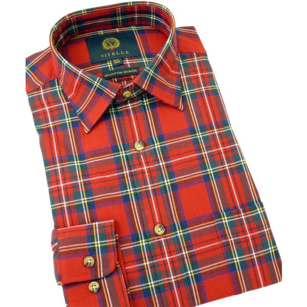 Viyella Cotton and Wool Shirt in Royal Stewart Tartan