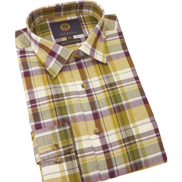 Viyella Cotton and Wool Shirt in Green and Gold Herringbone Plaid