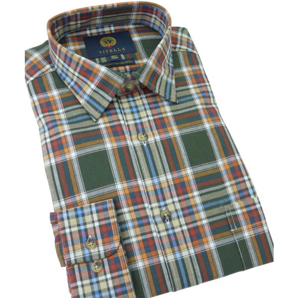 Viyella Cotton and Wool Shirt in Multi-Colour Plaid