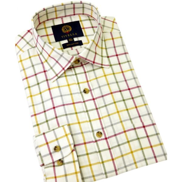Viyella Cotton Shirt in Gold and Red Tattersall Check