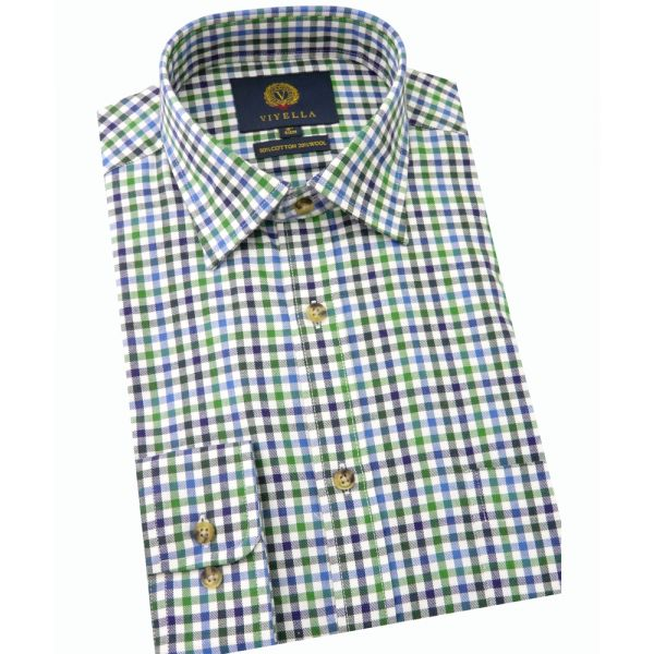 Viyella Cotton and Wool Shirt in Green Gingham Check
