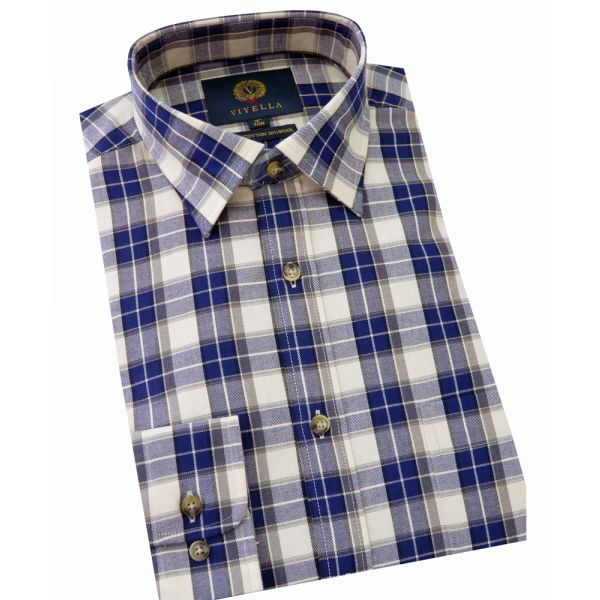 Viyella Cotton and Wool Shirt in Navy Tinted Ground Check