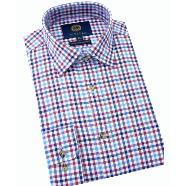 Viyella Cotton and Wool Shirt in Red Gingham Check