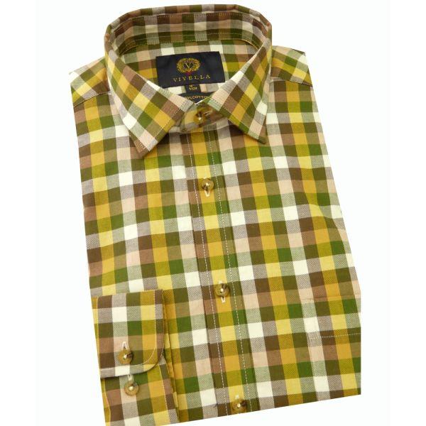 Viyella Cotton Shirt in Earth Square Check