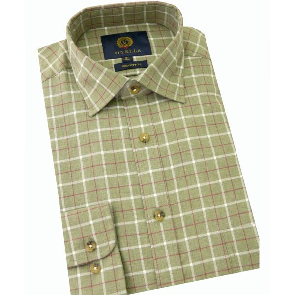 Viyella Cotton Shirt in Olive Melange Ground Check