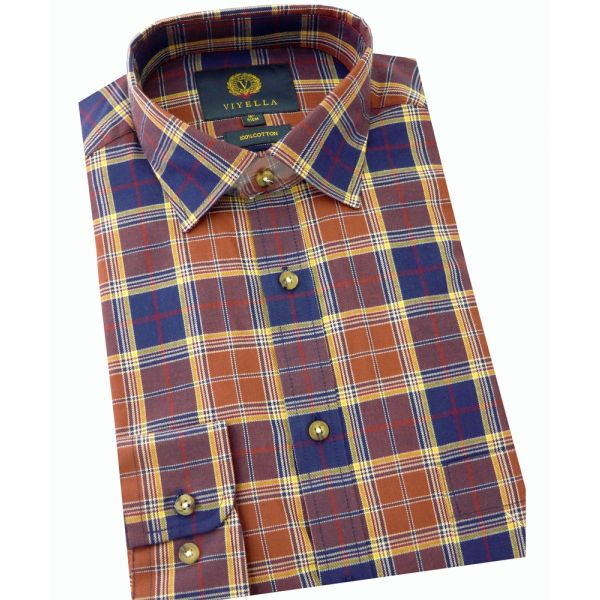Viyella Cotton Shirt in Navy and Rust Plaid