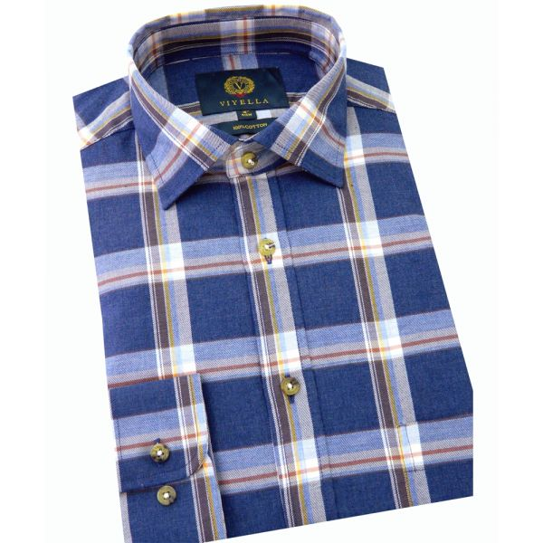 Viyella Cotton Shirt in Navy Marl Melange Plaid