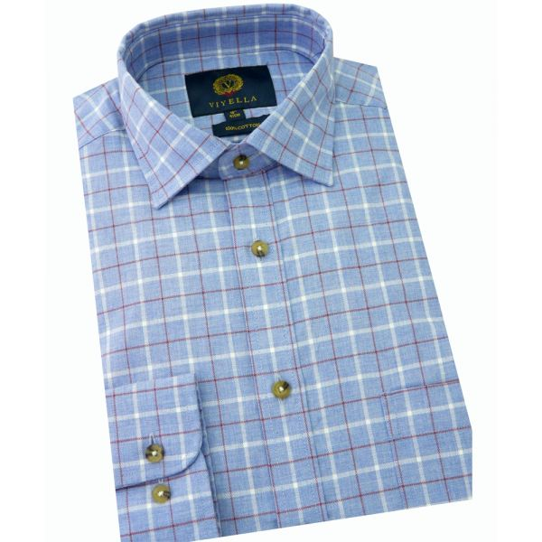 Viyella Cotton Shirt in Blue Marl Melange Ground Check