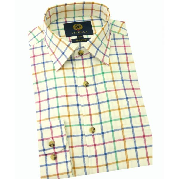 Viyella Cotton Shirt in Bright Open Tattersall Check