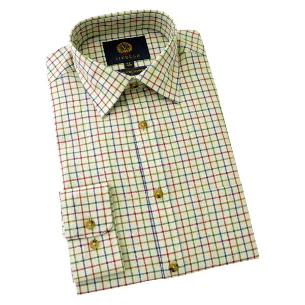 Viyella Cotton and Wool Shirt in Melange Green Medium Tattersall