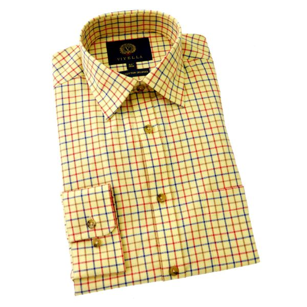 Viyella Cotton and Wool Shirt in Light Mustard Medium Tattersall