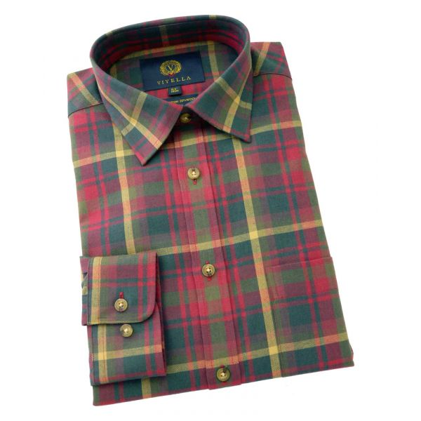 Viyella Cotton and Wool Shirt in Canadian Maple Tartan
