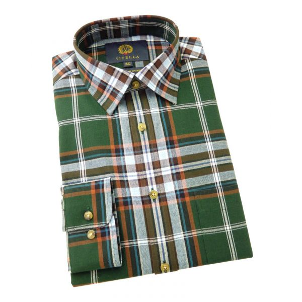 Viyella Cotton and Wool Shirt in British Racing Green Check