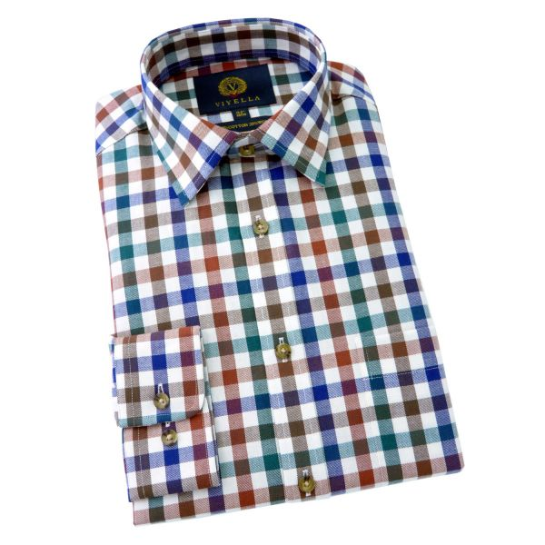 Viyella Cotton and Wool Shirt in Drake Melange Club Check