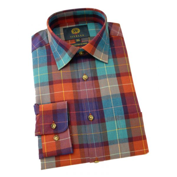 Viyella Cotton and Wool Shirt in Rooster Rich Check