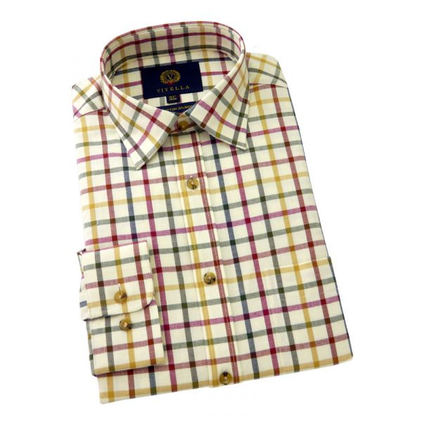 Viyella Cotton and Wool Shirt in Pheasant Tattersall Check