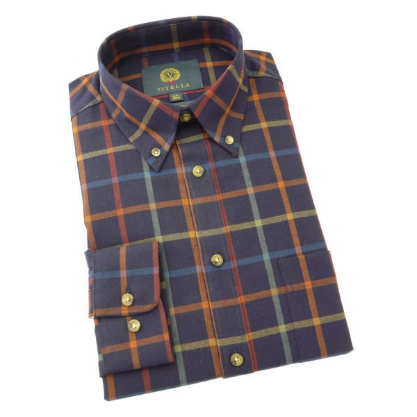 Viyella Cotton and Wool Shirt in Rooster Coloured Tattersall with Button Down Collar