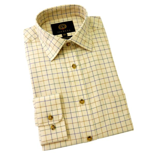 Viyella Cotton and Wool Shirt in Blue and Gold  Tattersall Check