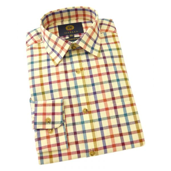 Viyella Cotton and Wool Shirt in Maple Tattersall Check