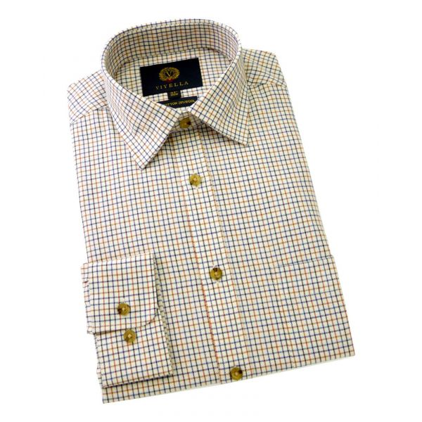 Viyella Cotton and Wool Shirt in Conker Mini Tattersall Check