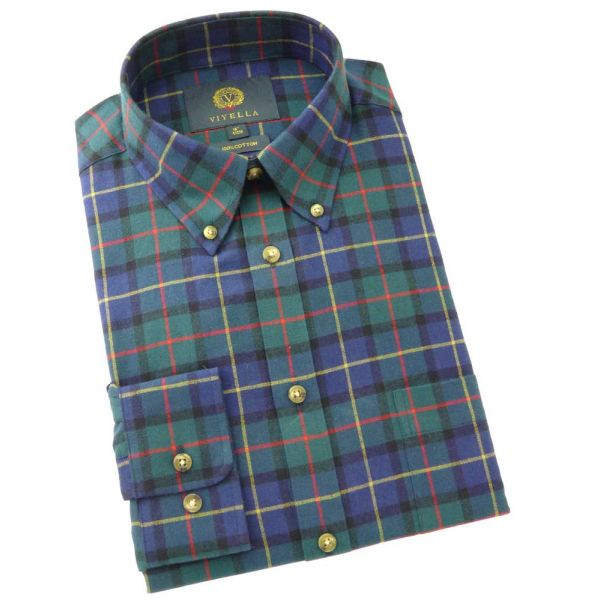 Viyella Cotton Shirt in Viyella Club Check - Button Collar
