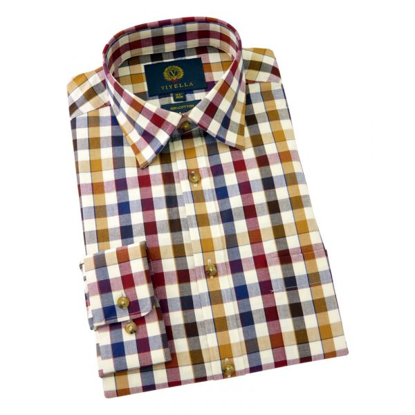 Viyella Cotton Shirt in Russett - Edged Check