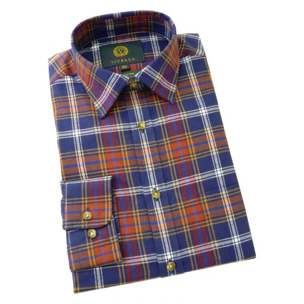 Viyella Cotton Shirt in Blue Mix Plaid