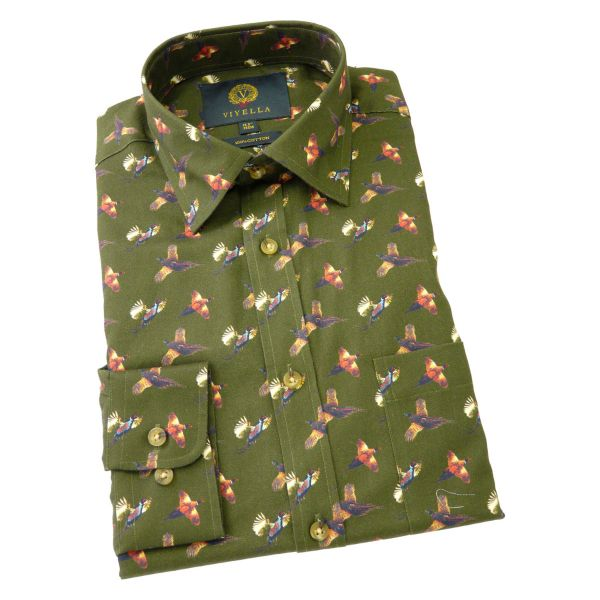 Viyella Cotton Shirt in Brunswick Green - Pheasant Print