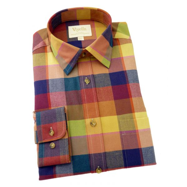 Viyella Cashmere Blend Shirt in Spice Chargeant Check