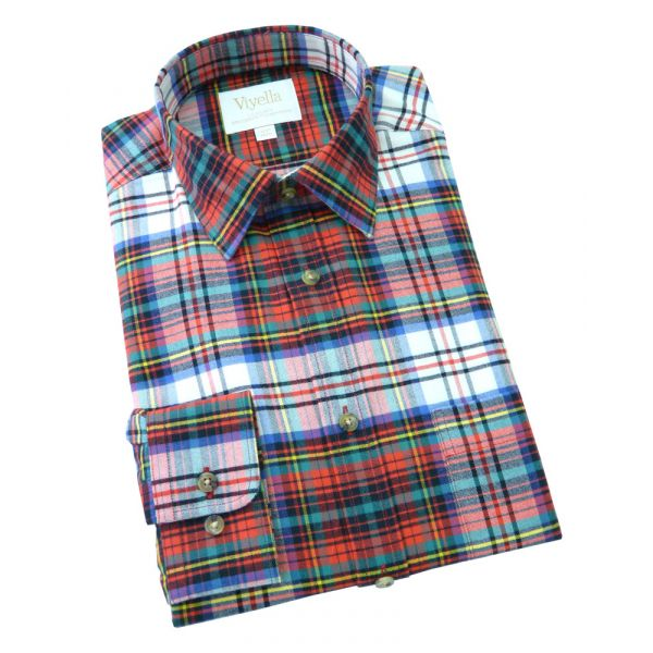 Viyella Cashmere Blend Shirt in Dress Douglas Tartan