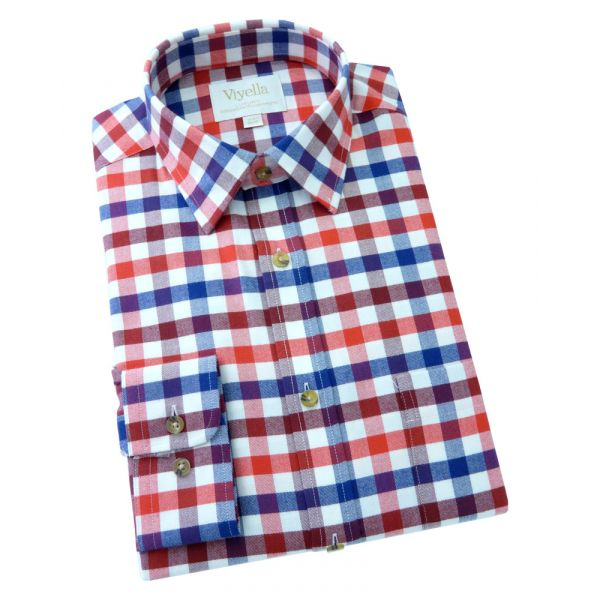 Viyella Cashmere Blend Shirt in Rich Red Club Check