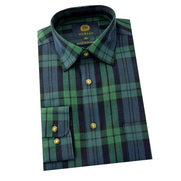Viyella - Cotton and Wool Shirt in Blackwatch Tartan