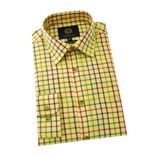 Viyella - Cotton and Wool Shirt in Ground Tattersall Check